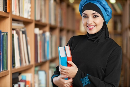 niqab: Arab education. Stock Photo