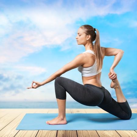 yoga white: Yoga. Stock Photo