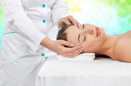 spa woman: Beautiful woman having relaxation with Spa Stock Photo
