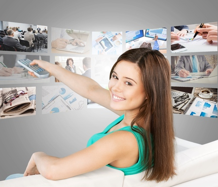 changing channels: Changing tv channels. Stock Photo