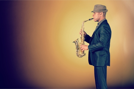 adult entertainment: Saxophonist. Stock Photo