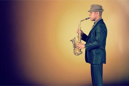 saxophonist: Saxophonist. Stock Photo