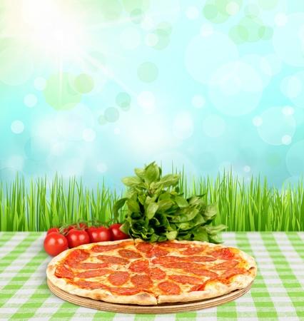 pastry crust: Pizza. Stock Photo