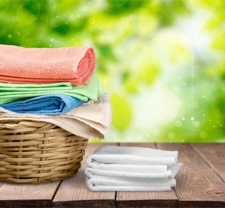 laundry basket: Laundry Towels. Stock Photo
