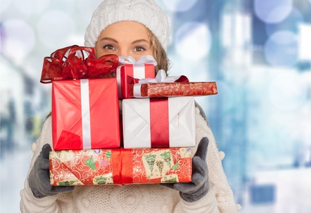 christmas concept: Christmas Gifts. Stock Photo