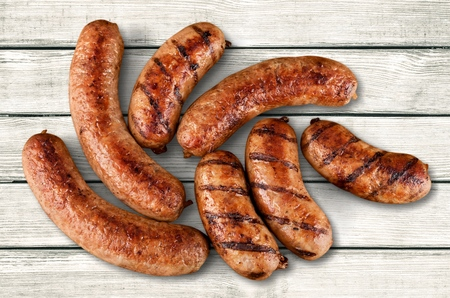 five objects: Sausages.