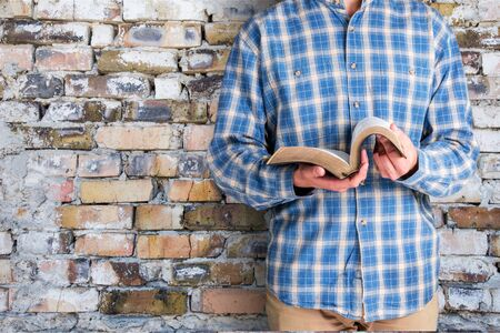 worshipper: Bible. Stock Photo