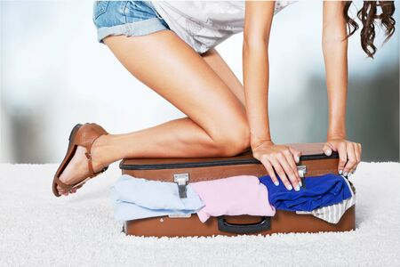 overfilled: Clothing bag. Stock Photo