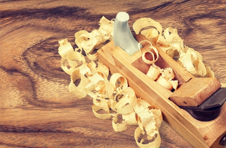 wood shavings: Carpentry. Stock Photo