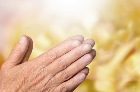 pray: Old hands. Stock Photo