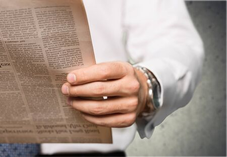 one person only: Newspaper. Stock Photo