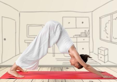 athleticism: Yoga. Stock Photo