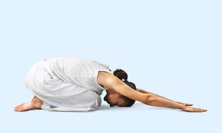 buena postura: Yoga. Foto de archivo