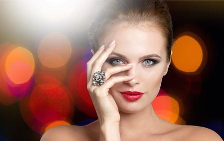 makeup eyes: Jewelry. Stock Photo