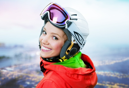 snow ski: Skiing. Stock Photo