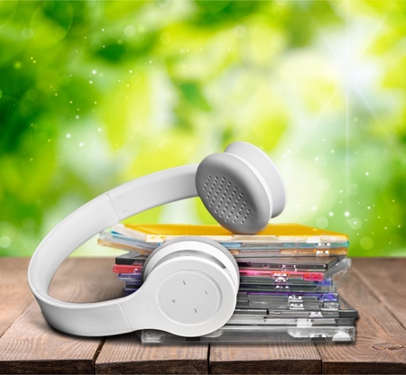 cd case: CDs and Headphones.