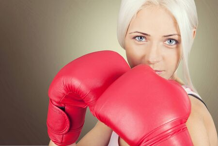 Women boxing. Stock Photo