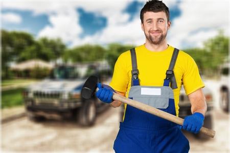 class maintenance: Manual Worker. Stock Photo