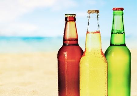 a bottle: Beer bottles.