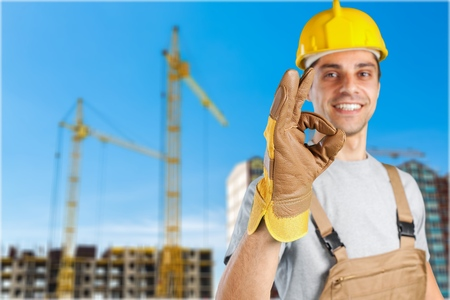 right on: Workman. Stock Photo