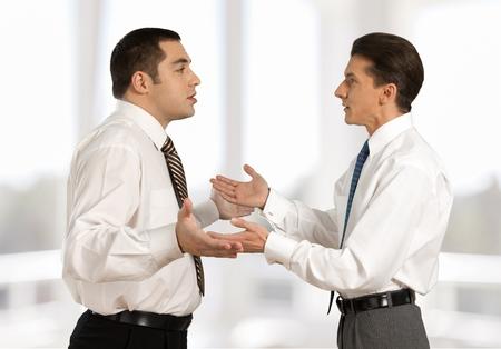 conflicto: Argumentando. Foto de archivo
