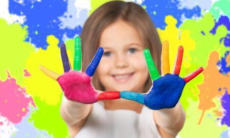 painter girl: Kid painter. Stock Photo