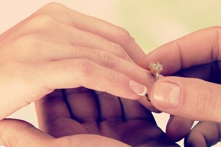 ring finger: Engagement ring.