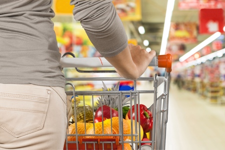 canned goods: Supermarket. Stock Photo