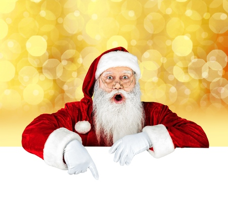 holding paper: Santa Claus. Stock Photo