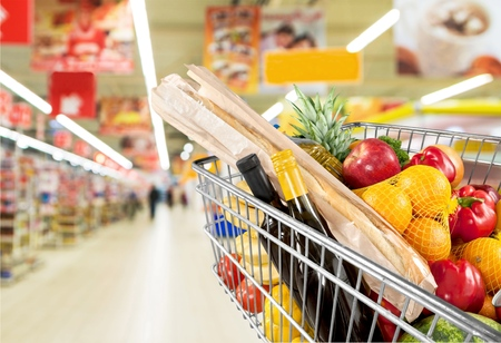 supermarket shelf: Supermarket. Stock Photo