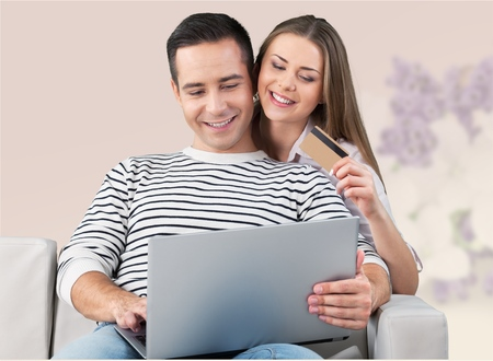 online purchase: Paying from home. Stock Photo