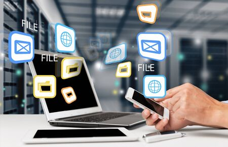 computer center: Shared apps. Stock Photo