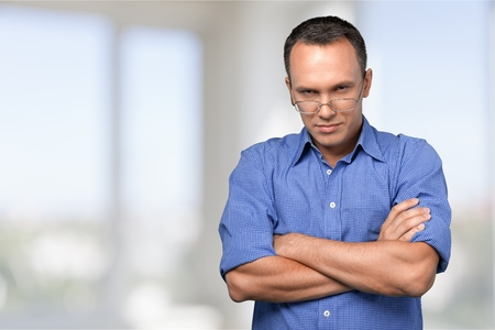 unhappy man: Displeased. Stock Photo