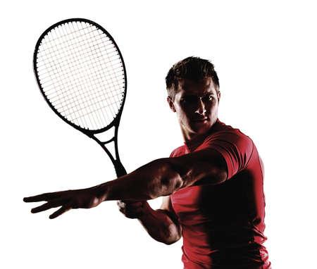 tennis racquet: Men with tennis racquet