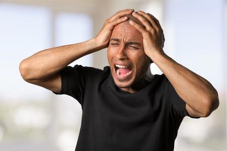 venting: Man shouting Stock Photo