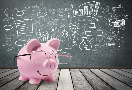 pig out: Making Money. Stock Photo