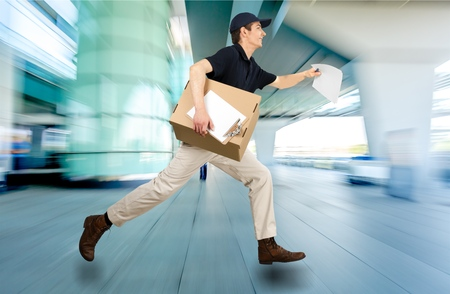 overnight: Delivering. Stock Photo