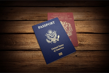 three objects: Passport. Stock Photo
