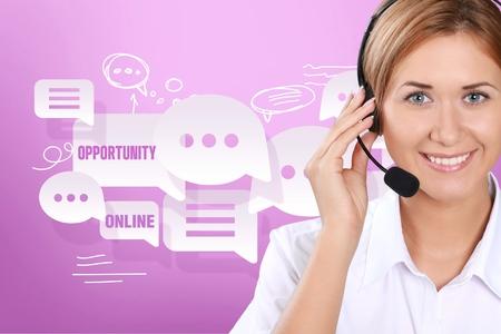 servicio al cliente: Centro de llamadas. Foto de archivo