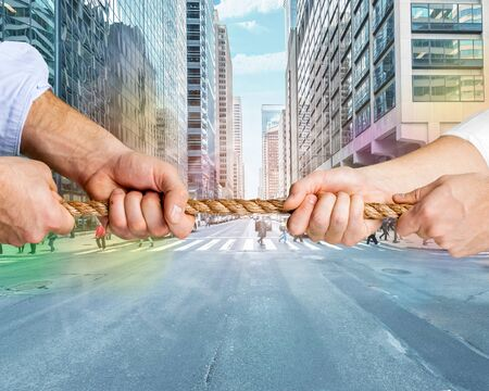 cut the competition: Conflict. Stock Photo