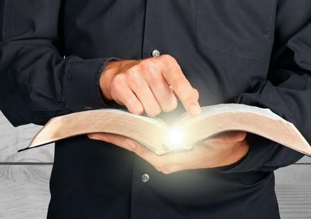 open hand: Bible. Stock Photo