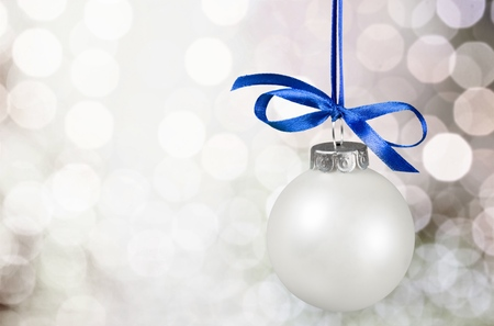 blue ribbon: Christmas Ornament. Stock Photo