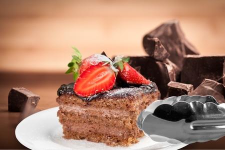 chocolate icing: Cake. Stock Photo