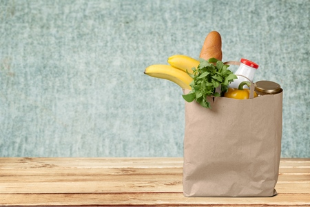 groceries: Groceries Paper Bag. Stock Photo