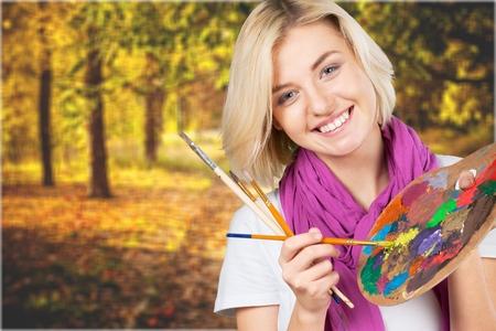 painter girl: Painter girl. Stock Photo