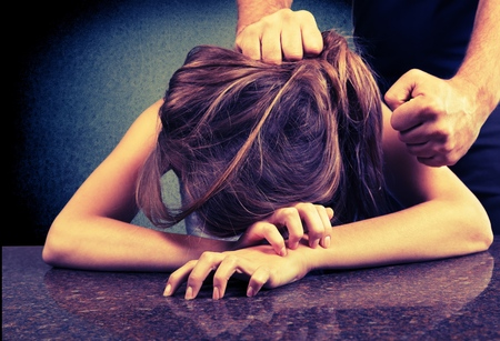 unrecognisable people: Women abuse. Stock Photo