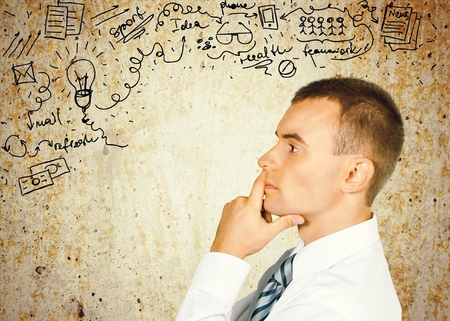 businessman thinking: Thinking Businessman. Stock Photo