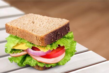 sandwich white background: Sandwich. Stock Photo