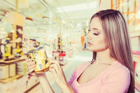 latin american ethnicity: Supermarket. Stock Photo