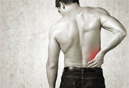 male body: Back pain.